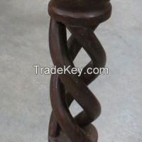 Tall Carved Wooden Candle Pillar with Twist