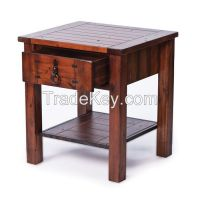 Acacia End Table with Drawer by Rare-Finds