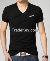 Men V-neck T-shirts with Short Sleeve