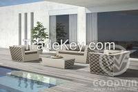 New design AL frame waved flat PE rattan outdoor furniture sofa set