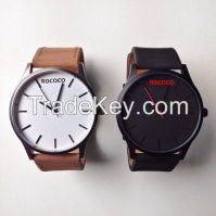 Custom logo brand sports watch with Genuine Leather straps , ROCOCO Wat