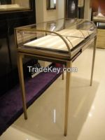 high class jewelry showcase display counter, cabinet, curved case showcase