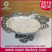 European Style Antique Silver Home Decorative Resin fruit tray