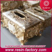 China Factory wholesale Antique home decoration item resin tissue box