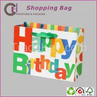 The high-end paper shopping gift packaging bag with happy birthday desgin