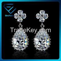 White Gold Plated New Arrvial Teardrop Shaped Wedding Earrings for Women Drop Style