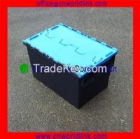600*400*370mm Attached Lid Plastic Used Container for Sale