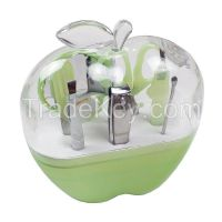 China top OEM manufacturer wholesale plastic apple shape manicure sets, nail care pedicure set
