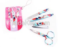 Customized logo Promotional Gift PVC Pouch 4 pcs painting nail care tool kits manicure pedicure set