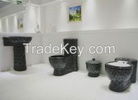 Classic Black Ceramic Toilet Sets Sanitary Ware with Platinum Engraved
