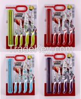 5PCS FLOWERS PATTERN KNIVES SETS with MAGNETIC KNIFE HOLDER/RACK/BAR  DECAL PRINTING