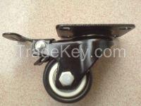 2-inch PVC / PU screw Wheels, Diamond flat double bearing double brake caster