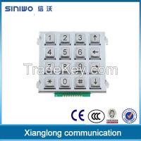 Metal waterproof keypad with 4x4 button zinc alloy