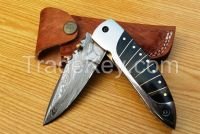 Damascus hand made Lockable folding knife