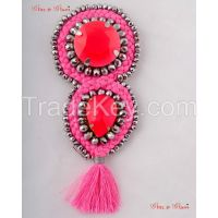 Brooches - Tassel style brooch in dominating pink Topaz with a hint of silver