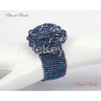 Fashion Bracelets - Flower inspired blue metallic beads