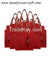 Maroon Jute Shoulder Bag