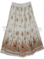 Indian Tribal Style Skirt White