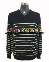Men's stripe V neck 90%wool 10% cashmere pullover with elbo