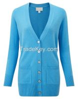 100% cashmere women sweater cardigan long sleeve
